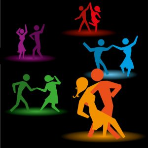 dancing people over black background vector illustration