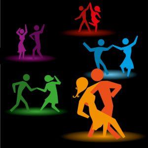 dancing people over black background vector illustration